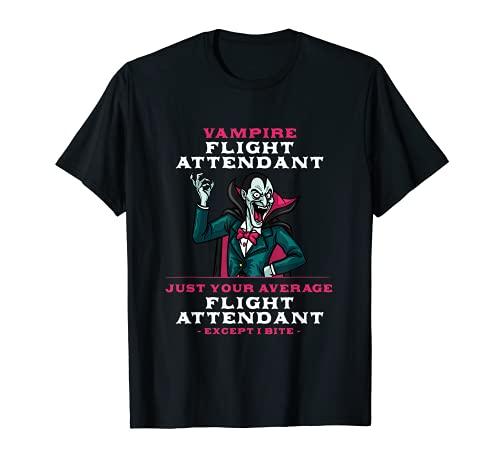 Vampiro Asistente de Vuelo Halloween Azafata de miedo Camiseta