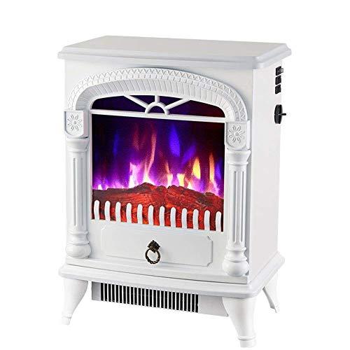 Termoventilador Retro portátil chimenea eléctrica - Cocina eléctrica con horno de leña 3D efecto de la llama y 2 ajustes de calor (1000 W 2000 W) - Calefacción auxiliar libre de Stan espacio whiteelec