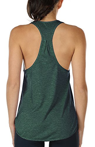 icyzone Yoga Sport Tank Top Damen Racerback Lauftop Fitness Running Shirt Oberteile (L, Army)