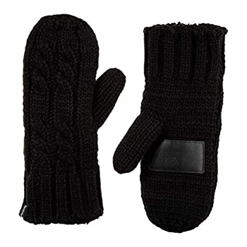 isotoner womens Chunky Cable Knit Sherpasoft cold weather mittens Black One Size US