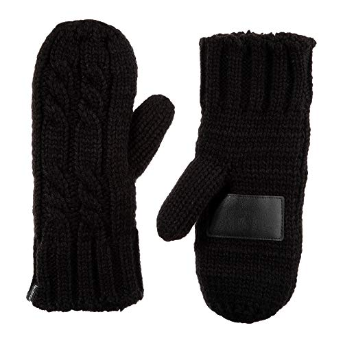 isotoner womens Chunky Cable Knit Sherpasoft cold weather mittens, Black, One Size US