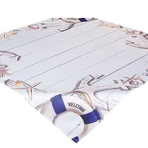 Tischdecke maritim Welcome, 85x85 cm, Bedruckte, Moderne Mitteldecke für Haus und Garten