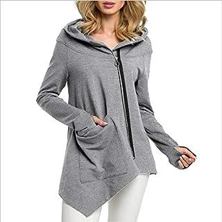 LUZAISHENG Irregular Pocket Jacket Sweatshirt 2020 Fashion (Color : Light Grey, Size : S)