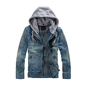 Men's Denim Hoodie Jacket Casual Slim Fit Jeans Coat