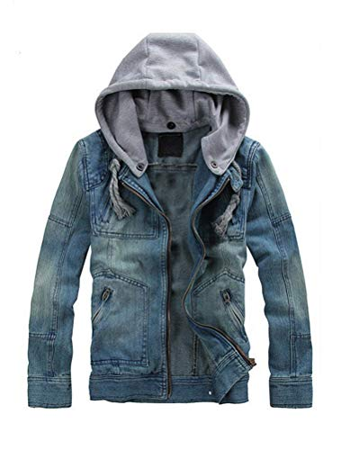 Lavnis Men's Denim Hoodie Jacket Casual Slim Fit Button Down Jeans Coat (2XL, Blue)