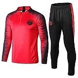 ZH~K Juego de 2 piezas de manga larga para entrenamiento de fútbol, uniforme de equipo, camisetas para hombre, color rojo, talla M: