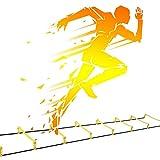 Escalera De Entrenamiento, Multifuncional Al Aire Libre Fútbol Americano Velocidad Formación Sin Cable Ajustable Columna Fisicamente Flexible Hijos Adultos con Bolsa De Almacenamiento XXIOJUN