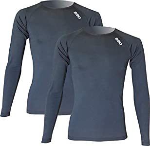 Pack x2ud Camiseta Interior Deportiva EKEKO WARMRACE JHKACTIVE. Camiseta Interior de Manga Larga .Poliester termoactive. (L, Negro)