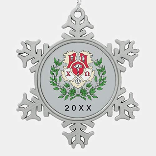 onepicebest Christmas Ornaments,Metal Snowflake Ornament Chi Omega Crest Snowflake Pewter Christmas Ornament XMAS Gifts Presents, Holiday Tree Decoration Stocking Stuffer Gift