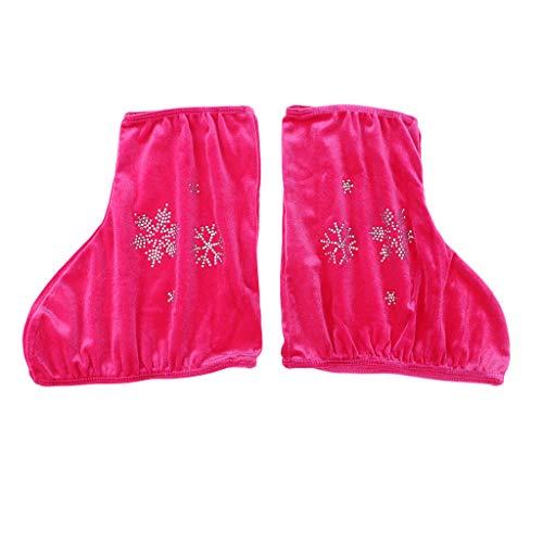 2 Unids Velvet Boot Cubre Protector de Zapatos para Patinaje Artístico Patines de Hockey sobre Hielo - Rosa roja-s