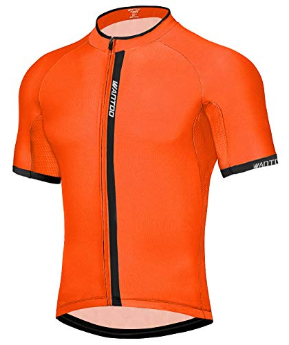 Wantdo Adult Quick Dry Full Zip Men's Bicycle Jacket with Pockets Orange XL