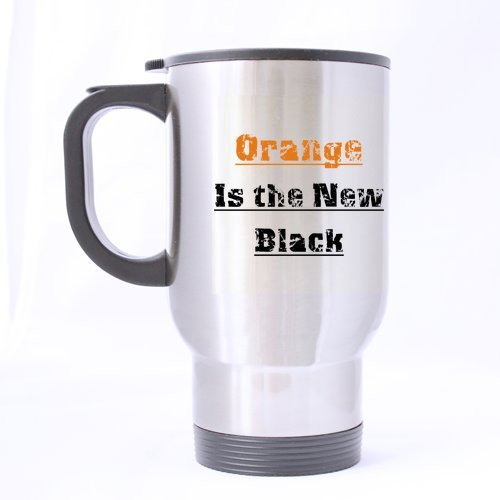 Mensuk Modern Orange Is the New Black Travel Mug (Silver)-14...