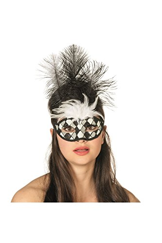 Panelize Venezianische Maske Augenmaske Harlekin Pierrot Domino-Maske (schwarz/weiß)