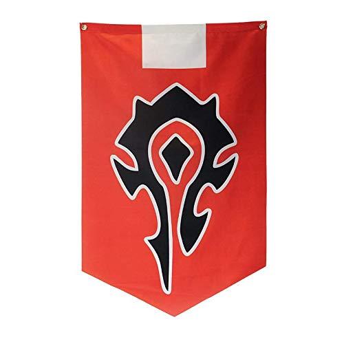 Multiculture World of Warcraft Flagge aus Satin von Alliance Horde (Horde Rot)