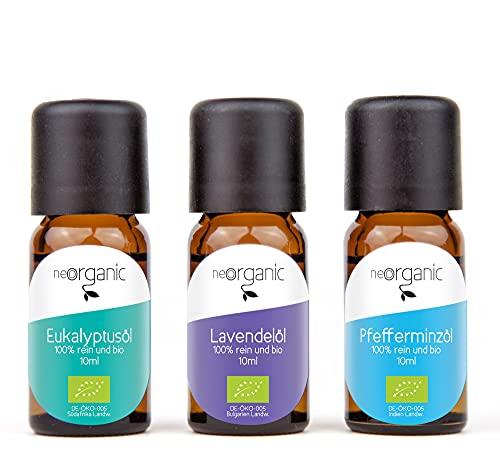 Lieblingsdüfte – Bio Aromaset ätherische Öle – Bio Lavendelöl, Bio Eukalyptusöl und Bio Pfefferminzöl – 3 x 10ml