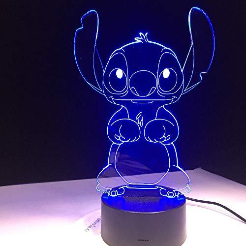 Stitch Cartoon 3D LED Lampe Schlafzimmer Tisch Nachtlicht Acryl Panel USB Kabel 7 Farben ändern Touch Base Lampe Kinder Geschenk