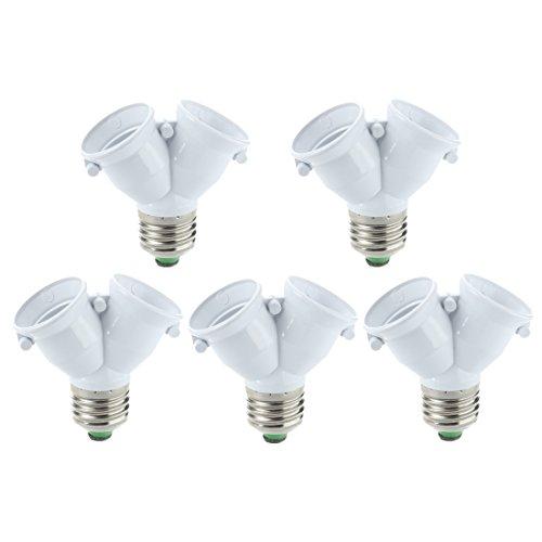 SODIAL(R) 5 x Adaptador doble bombillas lampara LED en mismo casquillo E27