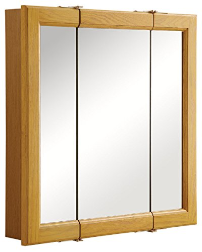 Design House 545277 Claremont Tri-View Solid Wood Mirrored Medicine Cabinet, Honey Oak, 24' W x 24' H