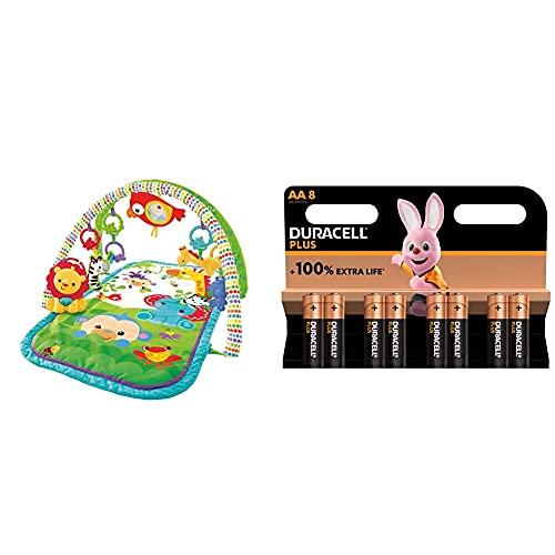 Fisher-Price - Gimnasio Musical Animalitos De La Selva, Manta De Juego Bebé (Mattel Gxc36), Embalaje sostenible + Duracell - NUEVO Pilas alcalinas Plus AA, 1.5 Voltios LR6 MN1500, paquete de 8