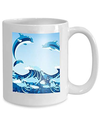 N\A Tee-oderKaffeetassen100%Keramik11-Unzen-weißerBecherniedlicheDelfineaquatischeMeeresnaturOzeanblauesSäugetierMeerwasserWildtierschwimmendenFischunterWasserlebensecht