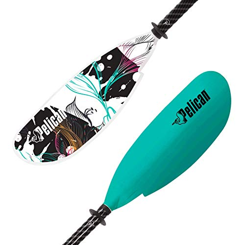Pelican Symbiosa Kayak Paddle | Adjustable Fiberglass Shaft with Nylon Blades | Lightweight, | Perfect for Kayaking (Light Teal, from 90.5 in - 230 cm to 94.5 in - 240 cm)