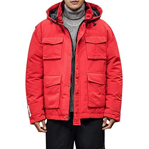 MAYOGO Winterjacke Herren Jacke Winter Baumwolle Puffer Jacke Wintermantel Winterparka Wattierte Jacke Winter Jacke mit Kapuze (rot, M/EU:38)