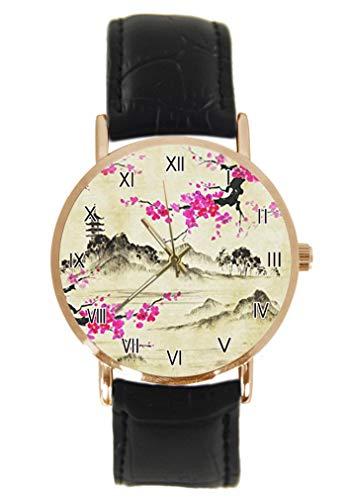 Reloj de Pulsera japonés con Paraguas y Cereza Japonesa Sakura, clásico, Unisex, analógico, de Cuarzo, Caja de Acero Inoxidable, Correa de Cuero