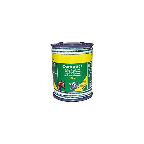 Ruban COMPACT 10 mm, blanc/vert, 6 inoxd= 0,16, rlx de 400 m - 184300