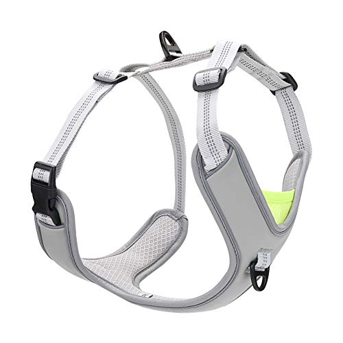 No Pull Dog Harness, Easy Dog Vest Harness with Damping Belt Adjustable Soft Padded, Dog Walking Harness with 2 Metal Leash Clips, Reflective Pet Harness for Medium/Large Dogs (Grey, XL(28-34.4''))