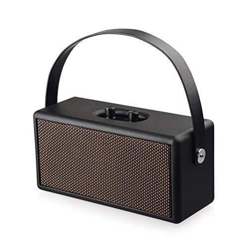Release Altavoz Bluetooth de madera Altavoz inalámbrico portátil de la computadora Sistema de sonido 8W* 2 música estéreo envolvente soporte U disco TF tarjeta AUX (color negro)