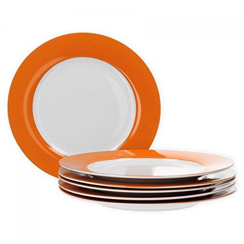 Van Well 6er Set Speiseteller Essteller flach Serie Vario Porzellan - Farbe wählbar, Farbe:orange