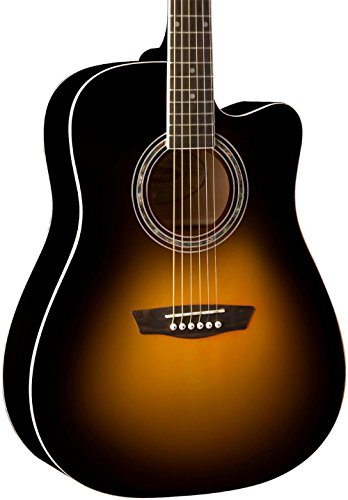 Washburn WA90CE Dreadnought Acoustic Electric Guitar Vintage Tobacco Sunburst