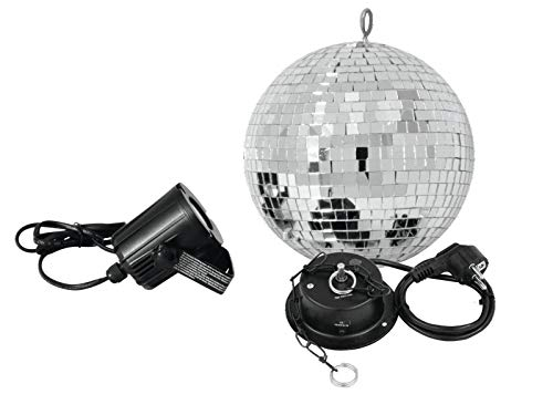 EUROLITE Spiegelkugelset 20cm mit LED Spot | Set bestehend aus Motor, Spiegelkugel, Kette und Pinspot