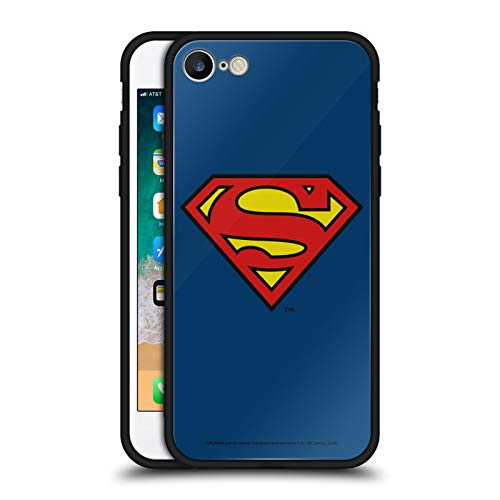 Head Case Designs Officially Licensed Superman DC Comics Classic Logos Black Hybrid Glass Back Case Compatible with Apple iPhone 7 / iPhone 8 / iPhone SE 2020