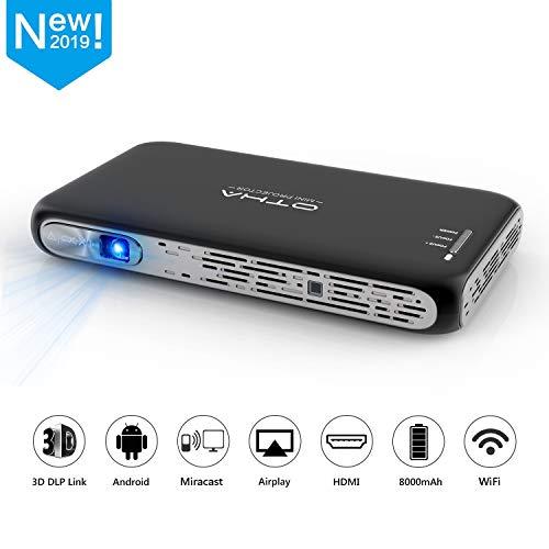 Beamer, OTHA Mini Beamer 200ANSI Lumens 3D DLP Projektor, 1080P Full HD Android Handybeamer Tragbarer Heimkino, WiFi Bluetooth HDMI Projektor mit Akku für Heim und Reisen Mehrweg