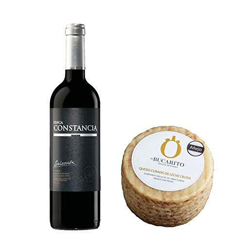 Pack de Vino tinto Finca Constancia Seleccion y Queso Curado de Leche Cruda Añejo - Vino de 75 cl y Queso de 800 g aprox - Mezclanza