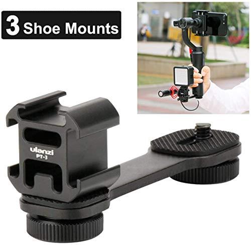 Ulanzi PT-3 Triple Cold Schuhhalterung Platte für Mikrofon Led-Videolichtverlängerung Haltegriff Ständer Rig für iPhone Huawei Zhiyun Smooth 4 / OSMO Mobile 3 2 / Feiyu Vimble 2 SPG2