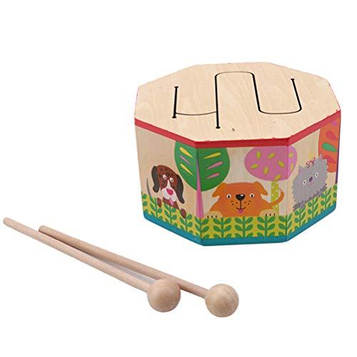 Egosy Kinder Spielzeug Cartoon Holztrommel Früherziehung Musikspielzeug Für Kinder Trommel Musikinstrumente Puzzle Spielzeug
