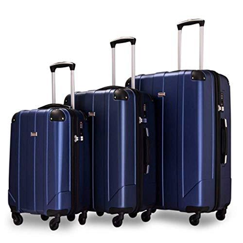 Juego de maletas de viaje con ruedas, ligeras, rígidas, maletas de viaje, 4 ruedas, con bloqueo TSA y asas, mango telescópico, color azul