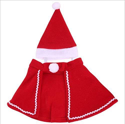 AKAMAS Niedliche Teddy-Kleidung, Weihnachtsumhang, roter Umhang und Hut, Haustier-Kostüm, Haustieranzug für Teddy, Yorkshire Terrier, Chihuahua, Zwergspitz, festliche Geschenke