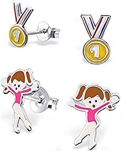 Pendientes de plata de ley hipoalergénica con diseño de medalla y ballet/bailarina/gimnasia/bailarina (2 pares)