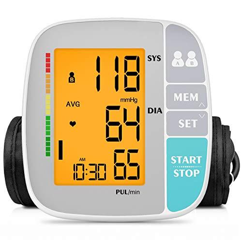ANJOCARE Tensiómetro de brazo digital, Monitor de Presión Arterial Digital Automatico con Monitoreo de Arritmia Memorias de 2 Usuarios(2*250), validado clínicamente
