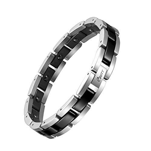 Black Ceramic Magnetic Bracelet Men Germanium Hematite Arthritis Pain Relief