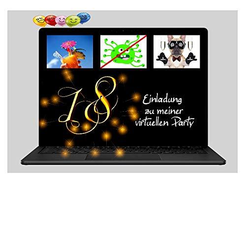 DigitalOase 2 Einladungskarten 18. Geburtstag VIRTUELLE PARTY Online Party MIT INNENTEXT 2 Klappkarten 2 Kuverts Format DIN A6#VIRTUAL