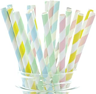 Pastel Straws, Easter Striped Straws, Spring Tall Drinking Straws, Party Paper Straws, 25 Pack - Pastel Striped Straws