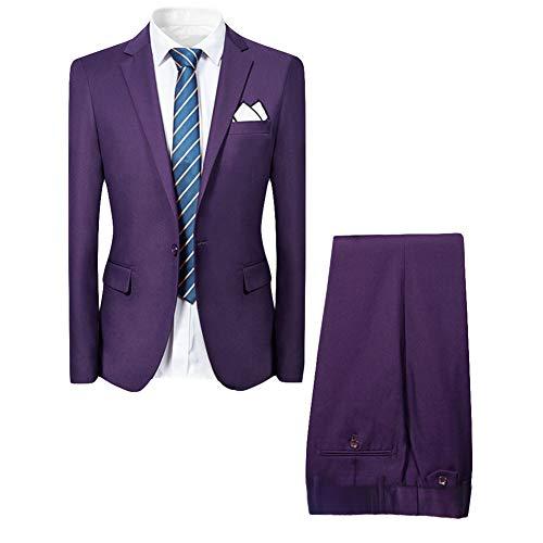 Allthemen Hochzeitsanzug Herren Anzug Slim Fit Herrenanzug Anzüge für Hochzeit Business Party Violett 2XL