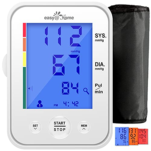 Blood Pressure Monitor Large Cuff-Easy@Home Upper Arm BP Machine with Extra...