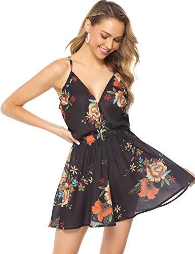 Abollria Dames korte overall met bloemenprint sexy V-hals zomer jumpsuit met zakken casual licht strrandoverall voor vakantie
