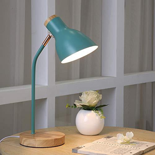 Tafellamp, Scandinavisch, bescherming van de ogen, kantoor, lezen, studenten, slaapzaal, meisjes, slaapkamer, nachtkastje, kleine tafellamp, plug-in-in-design, mintgroen + LED-lamp dimschakelaar