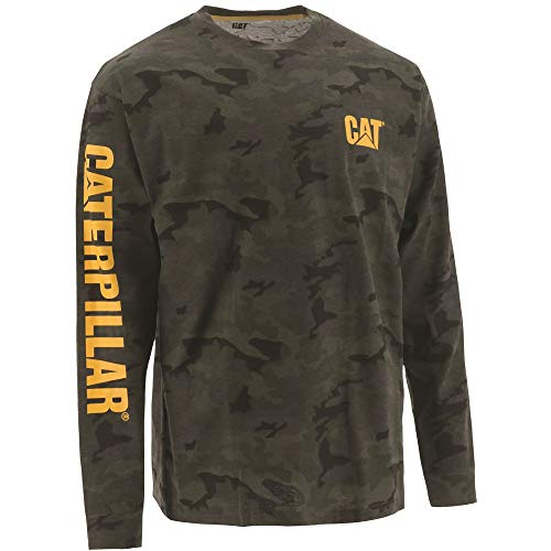 Caterpillar Men's Big and Tall Trademark Banner Long Sleeve T-Shirt (Regular and Big & Tall Sizes), Night camo, 4X Large